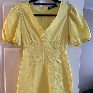 Womens Ruched Yellow Dress
